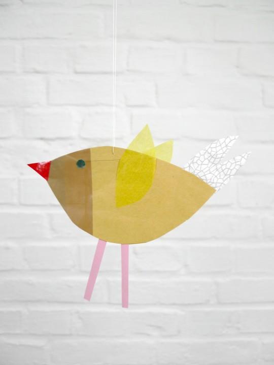 karamelo Vogel aus Papier für die Nido