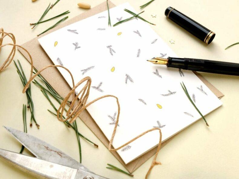 weihnachtlich Klappkarte mit Tannenzweigen | floral seasons greetings