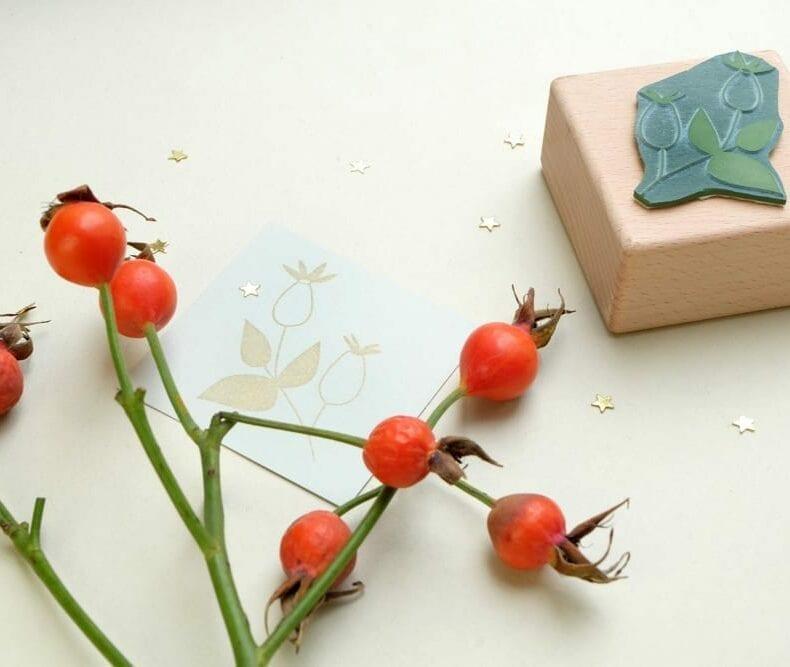 Weihnachtsstempel Hagebutte Zweig | christmas rubber stamp rose hip