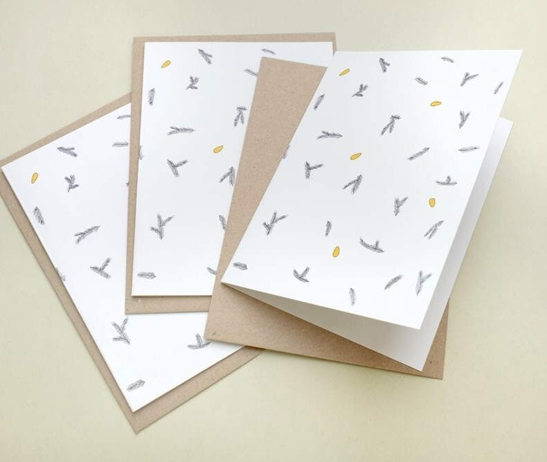 Seasons Greetings Card fir branches and pine nuts for christmas