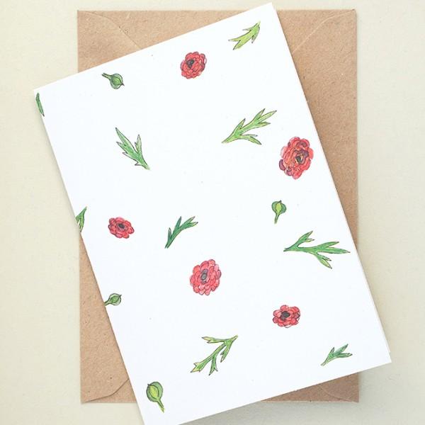 florale Grußkarte Ranunkeln | Greeting Card buttercup | studiokaramelo