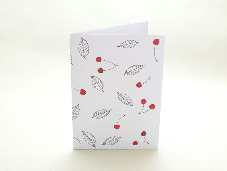 Grußkarte Kirsche   Greeting Card cherries   studiokaramelo