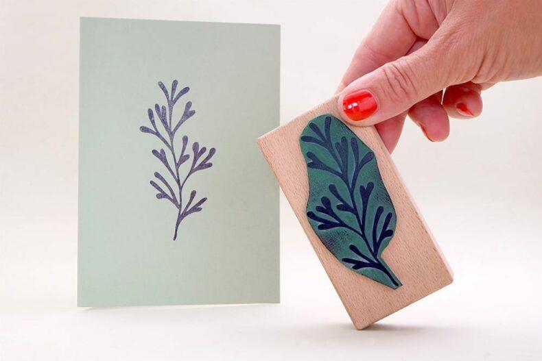floraler Stempel Unterwasserpflanze   underwater rubber stamp   STUDIO KARAMELO