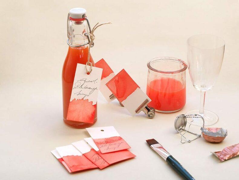 Aperol-Blutorangen-Sirup selbstgemacht | STUDIO KARAMELO | Aquarell Dip Dye Gift-Tags