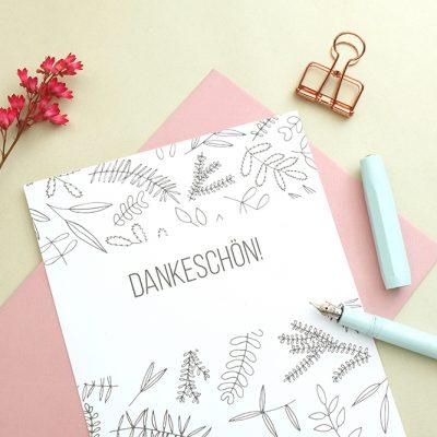 Dankeskarte floral | Hochzeitspapeterie | STUDIO KARAMELO | Blaetter und Zweige