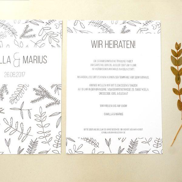 Einladung floral | Hochzeitspapeterie | STUDIO KARAMELO | Blaetter und Zweige | Hochzeitseinladung