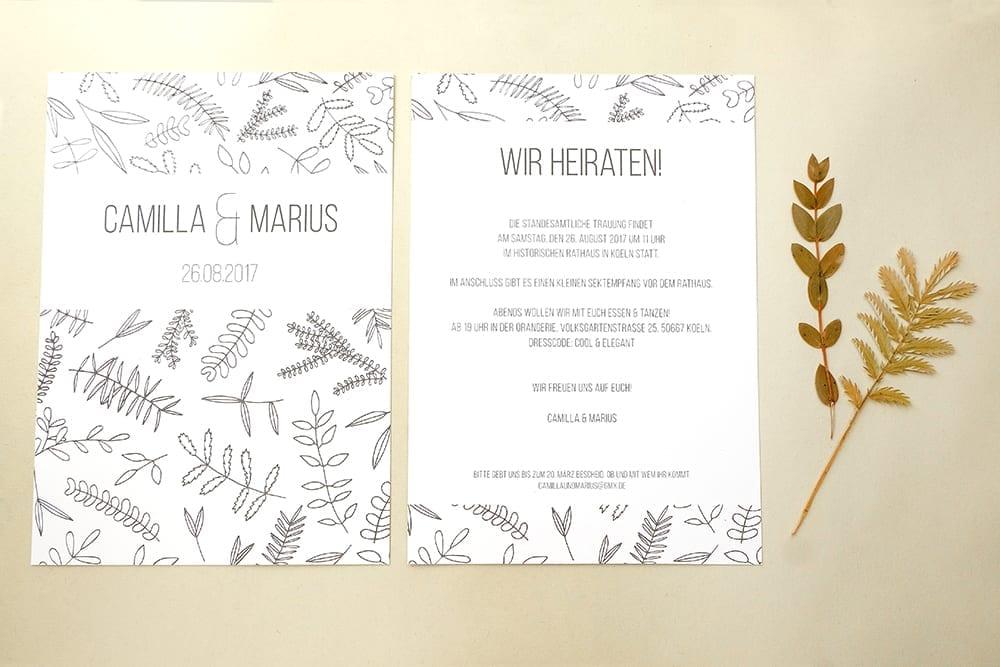 Einladung floral | Green Wedding |Hochzeitspapeterie | STUDIO KARAMELO | Blaetter und Zweige | Hochzeitseinladung