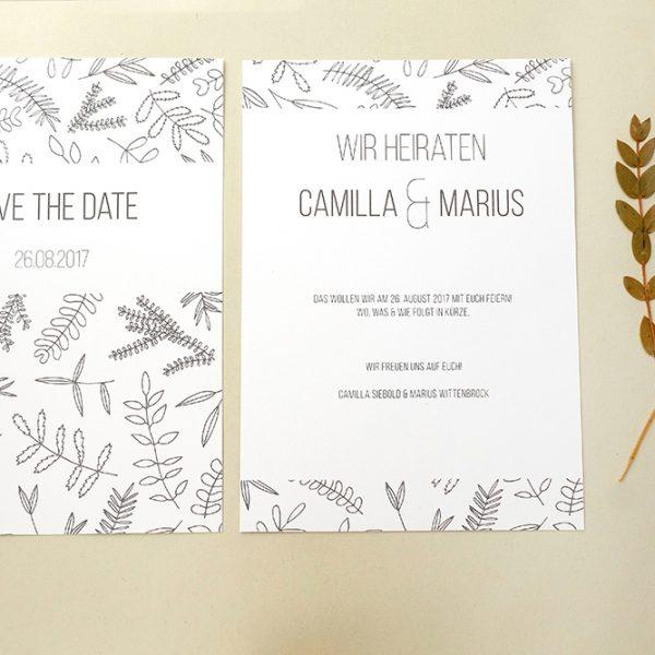 Save the date Karte floral   Hochzeitspapeterie   STUDIO KARAMELO   Blaetter und Zweige