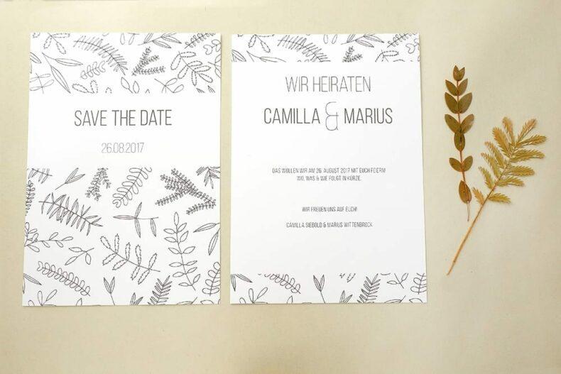 Save the date Karte floral | Hochzeitspapeterie | STUDIO KARAMELO | Blaetter und Zweige