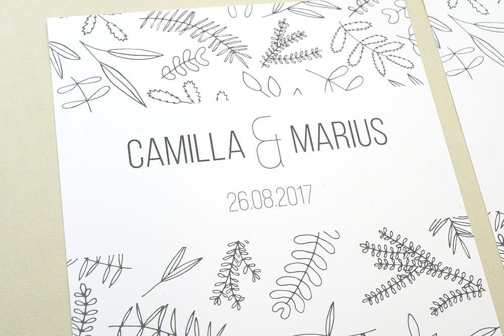 Florale Hochzeitspapeterie | Green Wedding |STUDIO KARAMELO | Blaetter und Zweige | Einladung, Save the date, Dankeskarte