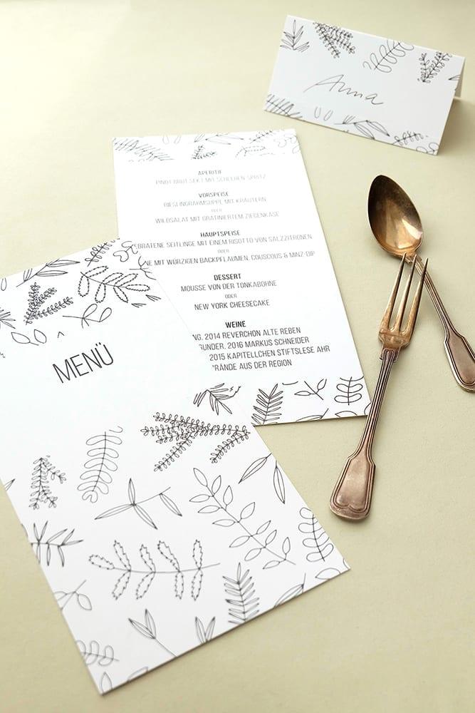 Menükarte | Green Wedding |Florale Hochzeitspapeterie | STUDIO KARAMELO | Blaetter und Zweige
