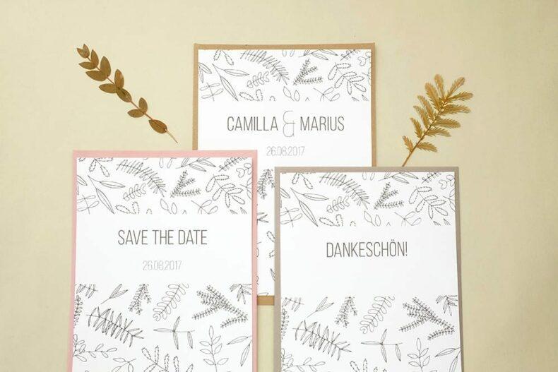 Florale Hochzeitspapeterie | STUDIO KARAMELO | Blaetter und Zweige