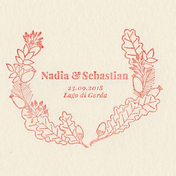 Individueller Hochzeitsstempel Herbstkranz, Herbsthochzeit | STUDIO KARAMELO