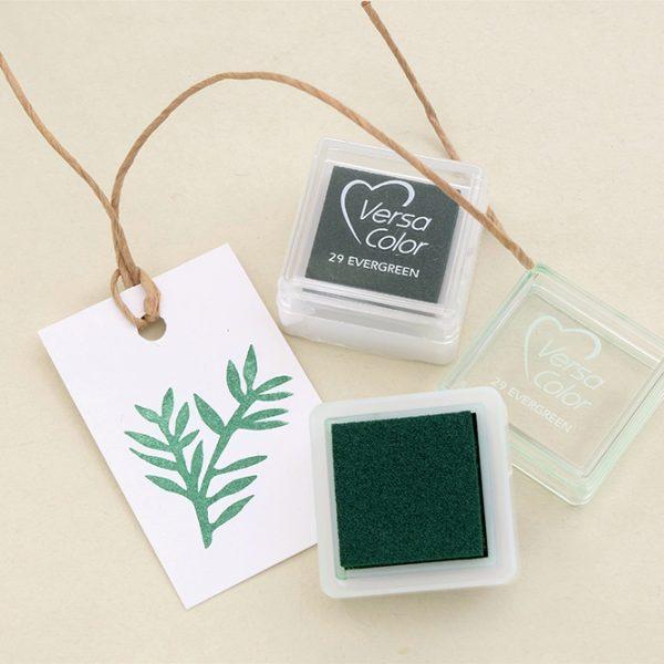Gift Tag bestempeln, Stempelkissen Versa Color Evergreen, Dunkelgrün, Immergrün | STUDIO KARAMELO