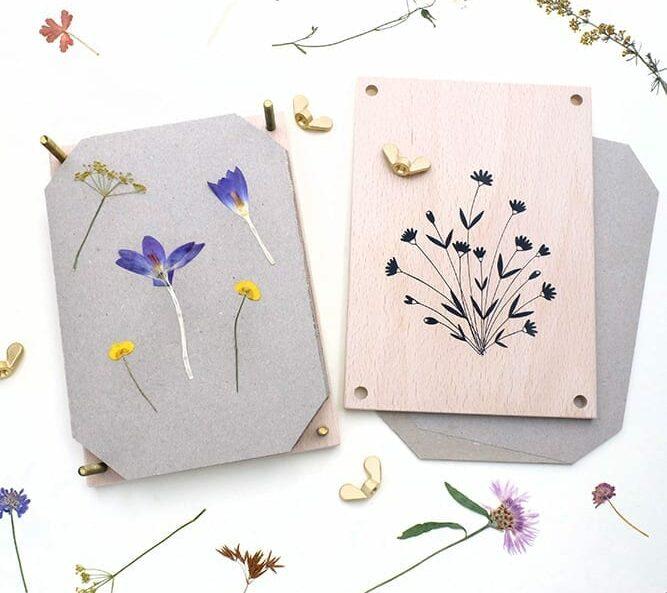 Blumenpresse Buchennholz, Geschenk zur Einschulung