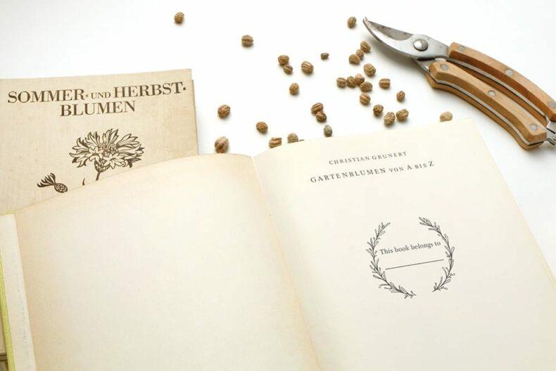 Floraler Ex Libris Stempel, Buchstempel von STUDIO KARAMELO