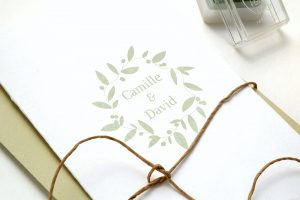 Hochzeitsstempel Namensstempel mit Blätterkranz