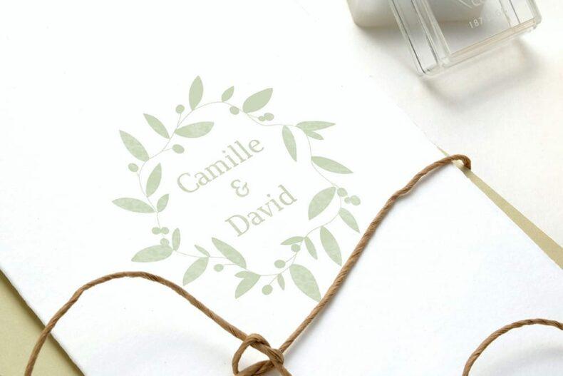 Floraler Hochzeitsstempel Namensstempel, floraler Kranz | STUDIO KARAMELO