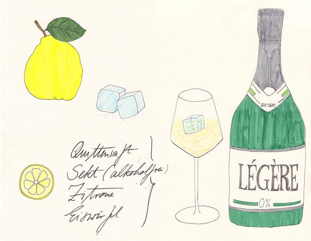 Quittensekt alkoholfreier Sommer Cocktail mit Quittensaft und Sekt