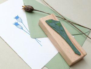 Stempel Kornblume Mohn, Holzstempel, botanischer Stempel   STUDIO KARAMELO