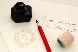 Hochzeitsstempel Liguster Kranz, Stempel für Hochzeitseinladung   STUDIO KARAMELO