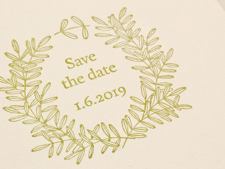 Save the Date Stempel floraler Kranz