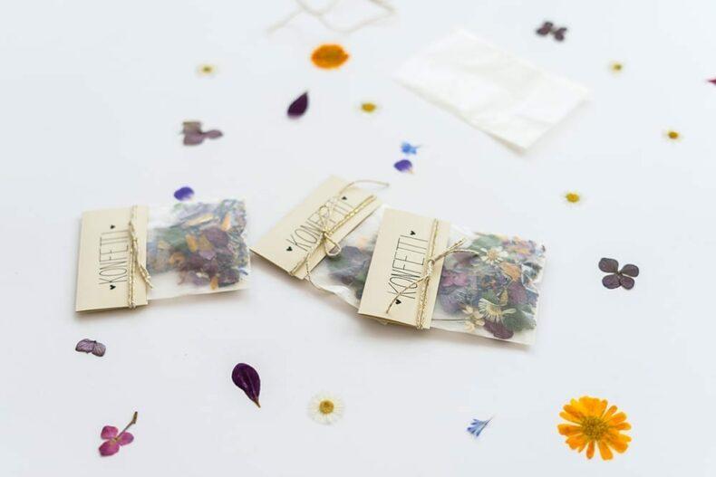 Konfetti aus Blüten, Veilchen Farn und Ringelblumen, Verlag freies Geistesleben