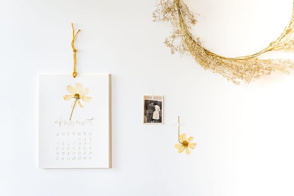 DIY Wandkalender mit gepressten Blumen, Vorlage zum Runterladen