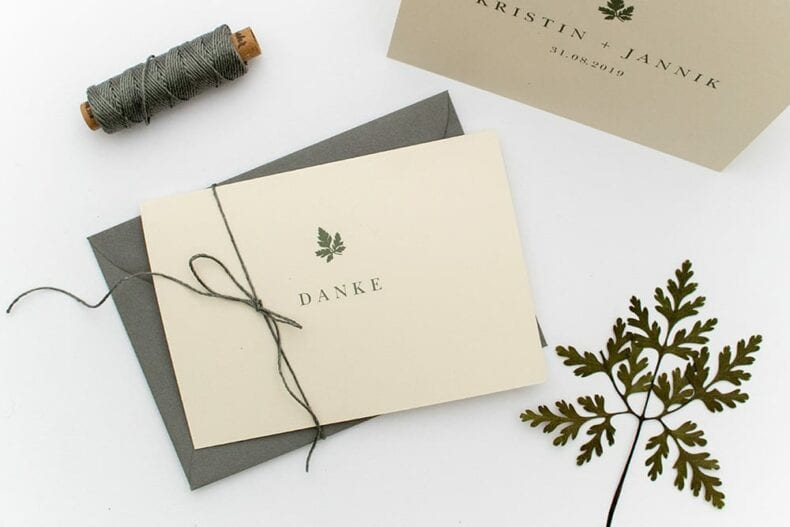 Hochzeitseinladung – Green Wedding, umweltfreundliche Hochzeitspapeterie, Recyclingpapier, Danksagung | STUDIO KARAMELO