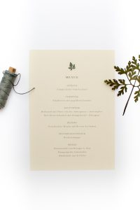 Hochzeitseinladung – Green Wedding, umweltfreundliche Hochzeitspapeterie, Recyclingpapier, Menü | STUDIO KARAMELO