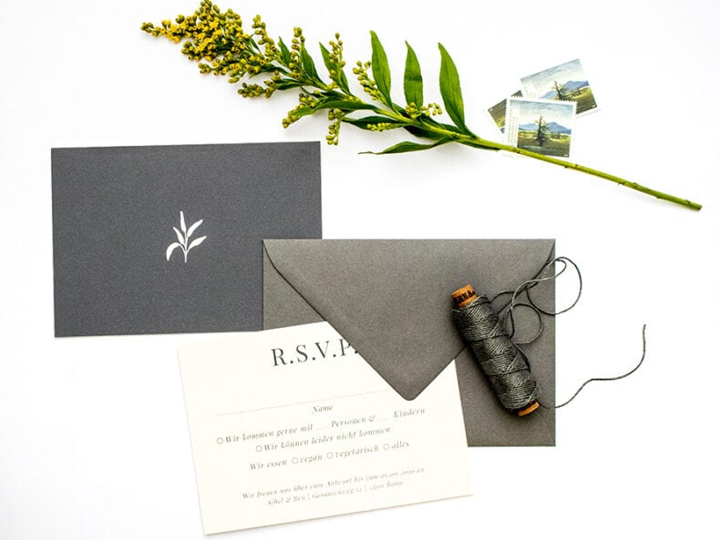 Solidago – RSVP Antwortkarte, umweltfreundliche Hochzeitspapeterie | STUDIO KARAMELO