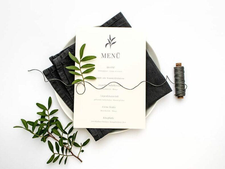 Solidago – Menükarte, umweltfreundliche Hochzeitspapeterie, Recyclingpapier | STUDIO KARAMELO