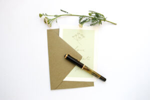 Save the Date Karte SCHAFGARBE florale Hochzeitspapeterie auf Recyclingpapier