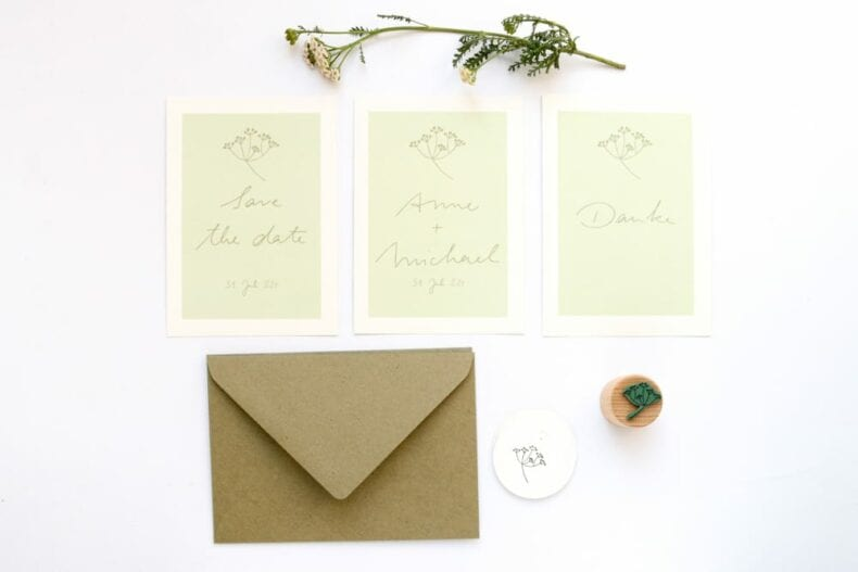 SCHAFGARBE florale Hochzeitspapeterie auf Recyclingpapier