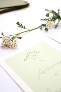 Einladung Hochzeit SCHAFGARBE florale Hochzeitspapeterie auf Recyclingpapier