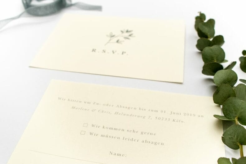 Florale Antwortkarte RSVP JASMIN – Hochzeitspapeterie Recyclingpapier