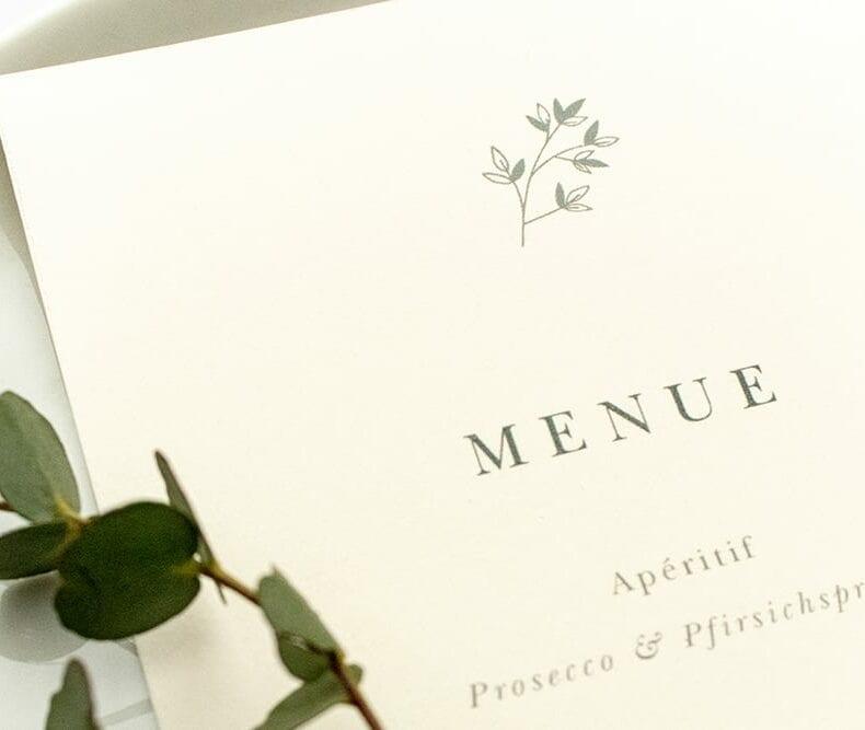 Florale Menükarte JASMIN – Hochzeitspapeterie Recyclingpapier