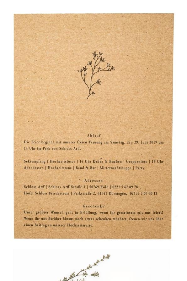 Thymian – Green Wedding, Hochzeitspapeterie mit Zweig auf Kraftpapier | STUDIO KARAMELO