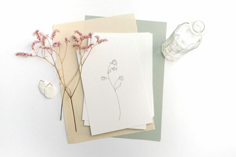 Botanischer Druck Glockenblume botanical print Recyclingpapier