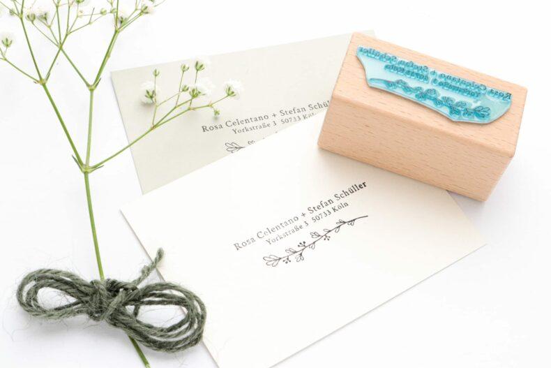 Adressstempel für Hochzeitseinladungen, Adressstempel mit Zweig | STUDIO KARAMELO