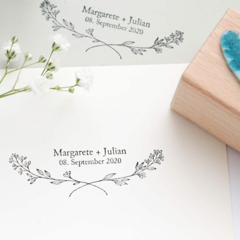 Hochzeitsstempel mit Name, Datum + Zweig | STUDIO KARAMELO