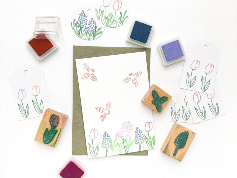 Ostergrüße stempeln, Osterkarte Blumenstempel | STUDIO KARAMELO