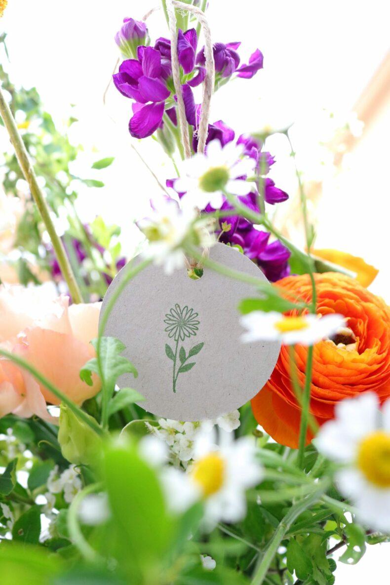 Geschenkanhänger gestempelt für Blumenstrauß | STUDIO KARAMELO