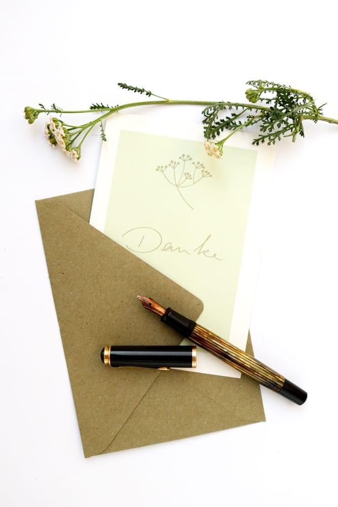 Dankeskarte SCHAFGARBE florale Hochzeitspapeterie auf Recyclingpapier