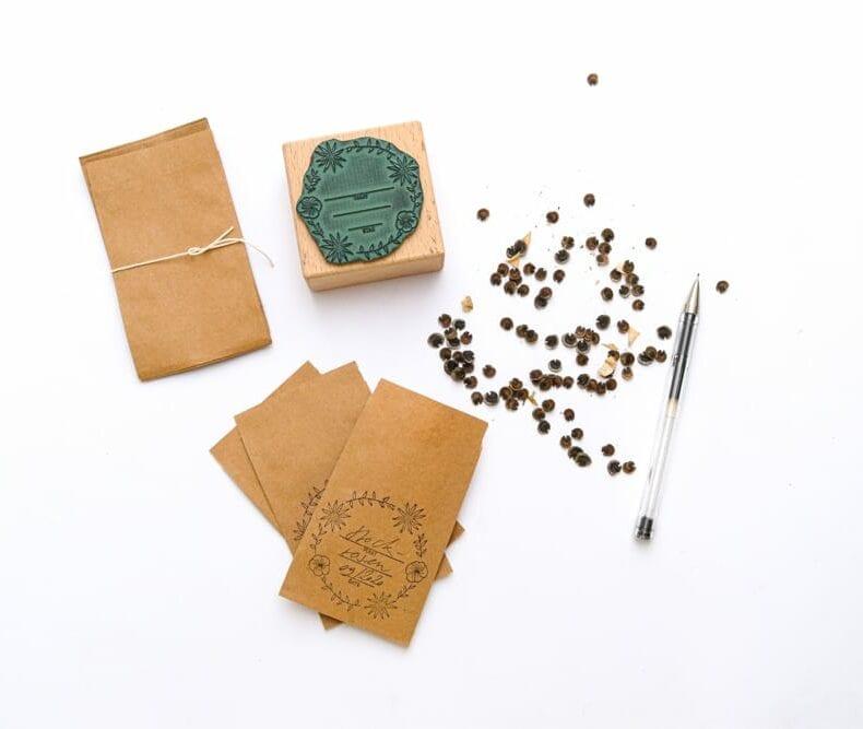 Saatgut Set: Saatgut Stempel und Samentütchen