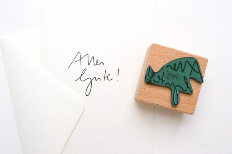 Stempel Handlettering Alles Gute auf Grußkarte gestempelt