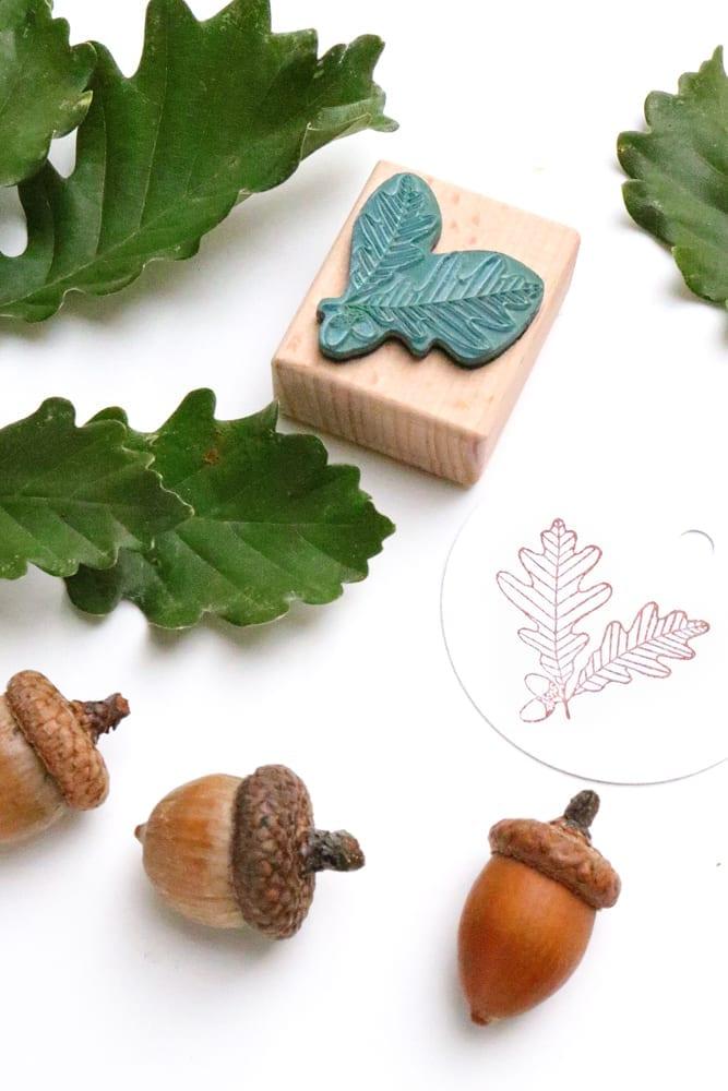 Stempel Eichenblatt Mini-Stempel Laub mit braunem Stempelkissen