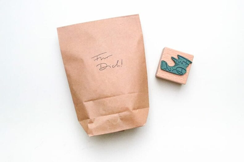 Stempel Handlettering Für Dich auf Geschenktüte gestempelt