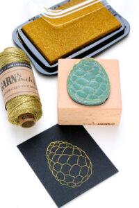 Stempel Zapfen in gold gestempelt mit Golden Glitz von Delicata