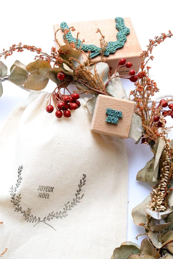 Weihnachtliches Stempel-Set: Joyeux Noel Stempel mit Kranz